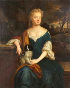 18th Century English Painting of Mary, Lady Hussey with dog