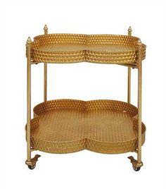 Hammered Gold Clover Bar Cart