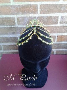 Green-gold ballet headpiece La Esmeralda by mpardovicouture