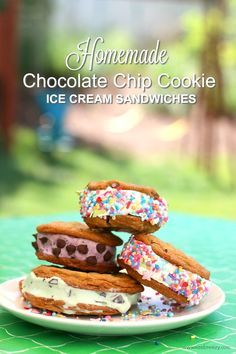 This ooey-gooey Chocolate Chip Cookie Ice Cream Sandwich Recipe is the perfect treat for those hot summer days!  Be sure to check out my trick that make assembly a breeze!