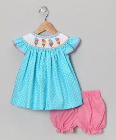 Look at this #zulilyfind! Turquoise Ice Cream Bishop Dress & Bloomers - Toddler by Fairies Kid #zulilyfinds