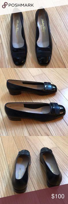 Salvador Ferragamo black leather shoes Beautiful black leather shoes with leather/patent leather buckle. Size 6 1/2B. Excellent Condition. Salvatore Ferragamo Shoes Flats & Loafers
