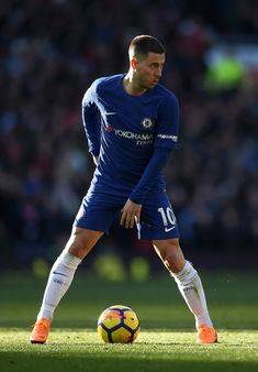 Eden Hazard Photos - Eden Hazard of Chelsea on the ball during the Premier League match between Manchester United and Chelsea at Old Trafford on February 25, 2018 in Manchester, England. - Manchester United vs. Chelsea - Premier League