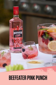 Enjoy your summer BBQs with the unique and fruity Beefeater Pink Punch recipe! Pink Party Drinks, Pink Gin Cocktails, Cocktail Drinks, Fun Drinks, Yummy Drinks, Cocktail Recipes, Drink Recipes, Beverages, Pink Punch Recipes