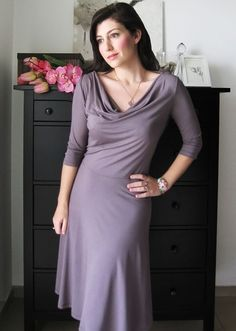 Soft Cowl Dress With Short Or Long Sleeves In Purple Romance