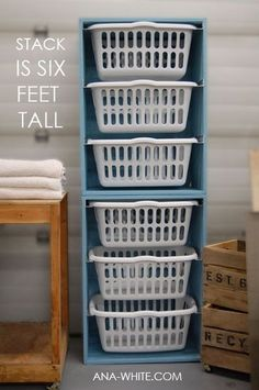 DIY Laundry Basket Dresser. I would put them side-by-side instead of stacking them.