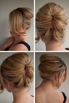 Looks complicated, but it's super easy - just make a loose, high chignon (bun), and twist/tuck it under your hair, a la french-twist.  Secure with ONE Goody Spin-Pin, and you're done!