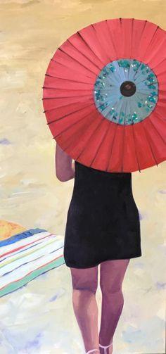 "T.S. Harris, ""Sun Umbrella"", 48 x 24, Oil on Canvas | Eisenhauer Gallery of Edgartown, MA"