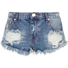 One Teaspoon Trashed Denim Shorts ($120) ❤ liked on Polyvore featuring shorts, short jean shorts, slim jean shorts, one teaspoon, slim shorts and low rise shorts