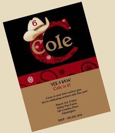 Cowboy Birthday Invitation Western Theme Birthday Party Invitations Printable or Printed. $15.00, via Etsy.