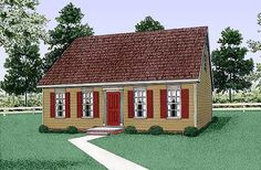 Colonial House Plan 45314 Elevation 1198 Sq ft. 3 bed. Think irish cottage. No wall. 1 bath on main. ****+