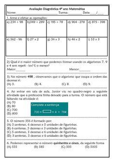 Espaço Professor Professor, Emerson, Periodic Table, Education, Homeschooling, Reading Activities, Math Assessment, Math Worksheets, Teacher