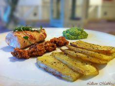 LILLIANs MATBLOGG: Baconsurret torsk med brokkolipuré, rød valnøttpesto og bakte potetskiver