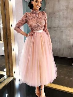 Long Sleeve Pink High Neck Ankle Length Homecoming Dresses Beads Tulle Short Dress on sale – PromDress.uk Long Sleeve Pink High Neck Ankle Length Homecoming Dresses Beads Tulle Short Dress on sale – PromDress. Modest Dresses, Elegant Dresses, Beautiful Dresses, Casual Dresses, Short Dresses, Fashion Dresses, Dresses For Work, Formal Dresses, Maxi Dresses