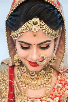 Ideas For Wedding Indian Makeup Bridal Looks Make Up Indian Wedding Makeup, Indian Wedding Bride, Indian Wedding Jewelry, Indian Marriage Makeup, Indian Bridal Photos, South Indian Bridal Jewellery, Indian Bridal Hairstyles, Bride Hairstyles, Bridal Hairstyle Indian Wedding