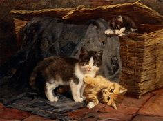 Adam_Julius_The_Playful_Kittens_1887_Oil_on_Panel