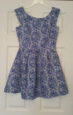 NWT Modcloth Blue & White Damask Mini Dress Sz 8 Pleated Linen Retro Miss…