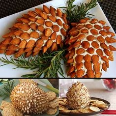 "Your kitchen savvy kids will love creating cream cheese ""pine cones"" or perhaps even hedgehogs! A great way to get little fingers involved!"