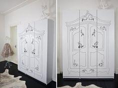 what to do with a plain Ikea wardrobe!! I loooove!