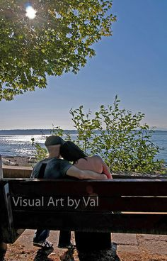#Romantic Couple Sitting on Bench at Beach Instant Image fine #art #prints
