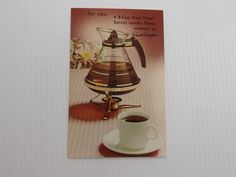 Vintage Mid Century Advertising Postcard for David Douglas Heat Proof Server Coffee Carafe from Leath Furniture - Eames / Atomic Era