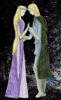 Loučení Finroda a Amarië. Z knihy Silmarillion od J. R. R. Tolkiena.
