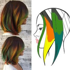 These 6 Hair Painting Diagrams Show You Exactly How to Get Color Like This – dessins de cheveux Hair Orange, Blue Hair, Brown Hair, Hair Color Placement, Hair Colorful, Color Fantasia, Hair Color Techniques, Fall Hair Colors, Hair Color Balayage