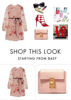 """""""Floral Dress"""" by anandiek ❤ liked on Polyvore featuring Valentino, Jimmy Choo, floral and dress"""