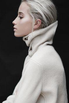 gorgeous off white turtleneck knit, pale blonde hair & neutral beauty #style #fashion