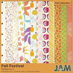 Fall Festival - Patterned Papers Set 2 - Graphics / Other Fall Patterns, Fall Collections, Autumn Inspiration, Pattern Paper, Autumn Leaves, Scrap, Quilts, Digital, Pumpkin