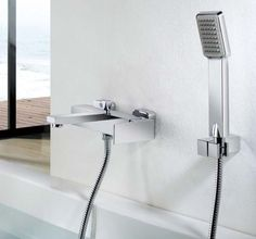 Wall Mounted Bathtub Mixer Square Bath& Shower Faucet Chrome Hot Cold Water Control With Hose Holder Shower Head