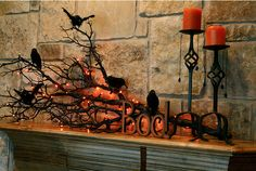 Easy, fabulous mantel display for Halloween