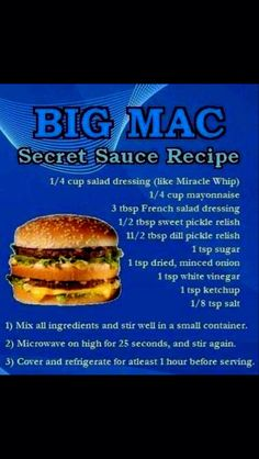 Sauce Recipes, Beef Recipes, Secret Sauce Recipe, French Salad Dressings, Dill Pickle Relish, Sweet Pickles, Minced Onion, Big Mac, Restaurant Recipes