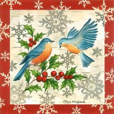 Bluebirds and holly [artist's title unknown] -- by Elena Vladykina