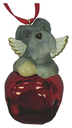 StealStreet SS-D-BL020-A Cute Christmas Holiday Schnauzer Dog Ornament Bell Figurine, Red ** Click image for more details.