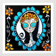 Day of the Dead Sugar Skull Girl Cameo Art Print by Allison Weeks Thomas - $17.00 #art #print #dayofthedead #sugarskull