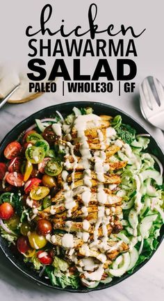 Looking to shake up your paleo dinner routine? Try this lebanese chicken shawarma salad. Mixed greens, fresh herbs, cucumber, tomato, and red onion are topped with slices of crispy oven baked chicken thighs. The marinade is fast, easy, and best of all, 100% make ahead. This is a tried-and-true whole30 recipe you'll turn to again and again! #paleo #chicken #recipes #realfood #wholefood #whole30 #greensaladrecipes