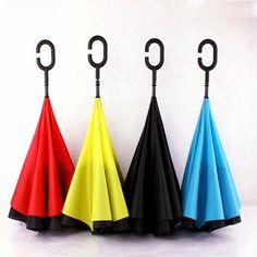 KCASA UB-1 Creative Reverse Double Layer Umbrella Folding Inverted Windproof Car Standing Rain Protection - Banggood Mobile