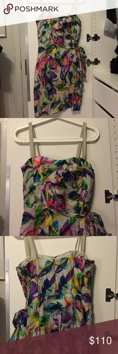 Nanette lepore multi color dress! NEW WITH TAGS- Nanette lepore multi color dress. Size 2. Could be worn with or without straps. Sweat heart style neck with boning to keep it up. Primary color is tan. Nanette Lepore Dresses Mini
