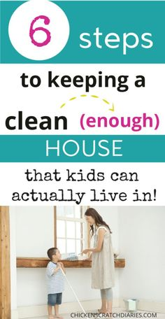 How to keep your house clean with kids? It sounds impossible, and in some ways it is. Here's what to do to stay sane and keep a clean home. Room Cleaning Tips, House Cleaning Checklist, Deep Cleaning Tips, Household Cleaning Tips, Cleaning Hacks, Family Schedule, Clean House Schedule, Life Organization, Organizing Life