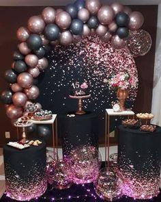 Birthday Balloon Decorations, Birthday Balloons, Birthday Party Decorations, Birthday Balloon Surprise, Birthday Centerpieces, Craft Party, Gold Birthday Party, 16th Birthday, Birthday Parties