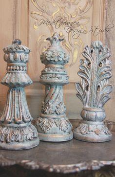 Antiqued finials, aqua blue finials, decorative finials, Mediterranea Design Studio, painted finials, french decor, french cottage decor by MediterraneaDesigns on Etsy https://www.etsy.com/listing/216124070/antiqued-finials-aqua-blue-finials