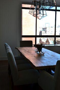 Tamara Stephenson Interior Design custom table created by groundwork raw edge table, arterior lights, new chairs, floors NYC client: