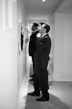 Straighten up! I think this would be such a cool picture of all the guys getting ready! (And I like the idea of the best man maybe adjusting the collar, tie, whatever on the groom)