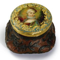 A Continental gold, enamel, and cameo glass powder box, circa 1890