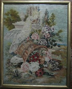 Lovely century floral patterned needlepoint and Berlin work. Design is alternating columns of naturalistic Berlin work and stylized needlework garlands, surrounded by a link-chain border. Excellent example of Victorian wool needlepoint work. Picture Search, Needlepoint, Needlework, Berlin, Victorian, Embroidery, Antiques, Floral, Pattern