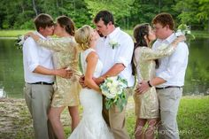 When the bride and groom's bridal party are all married to each other — SWOON!