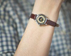 Round women's watch Aurora small ladies wrist watch by SovietEra, $58.00