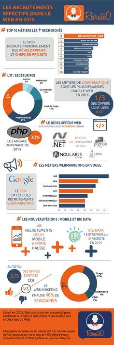 Le recrutement dans les métiers du web en 2015 (Source : Recruteo)