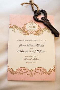 For the bride who wants to feel like royalty on her wedding day, we love this elegant fairytale themed invitation! Beautiful! {B. Mello Photo}